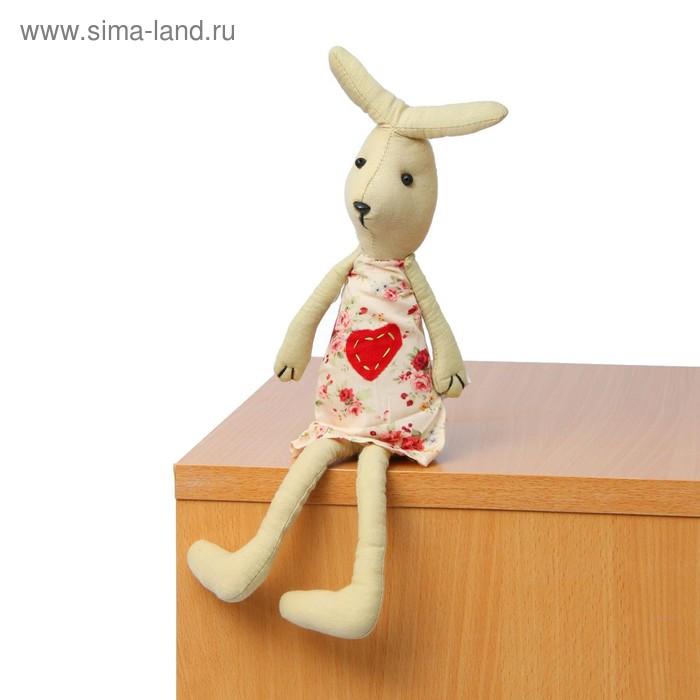 """Мягкая игрушка """"Зайка"""", платье с сердцем"""