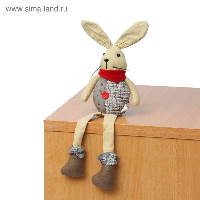 """Мягкая игрушка """"Зайка"""", красный шарфик"""