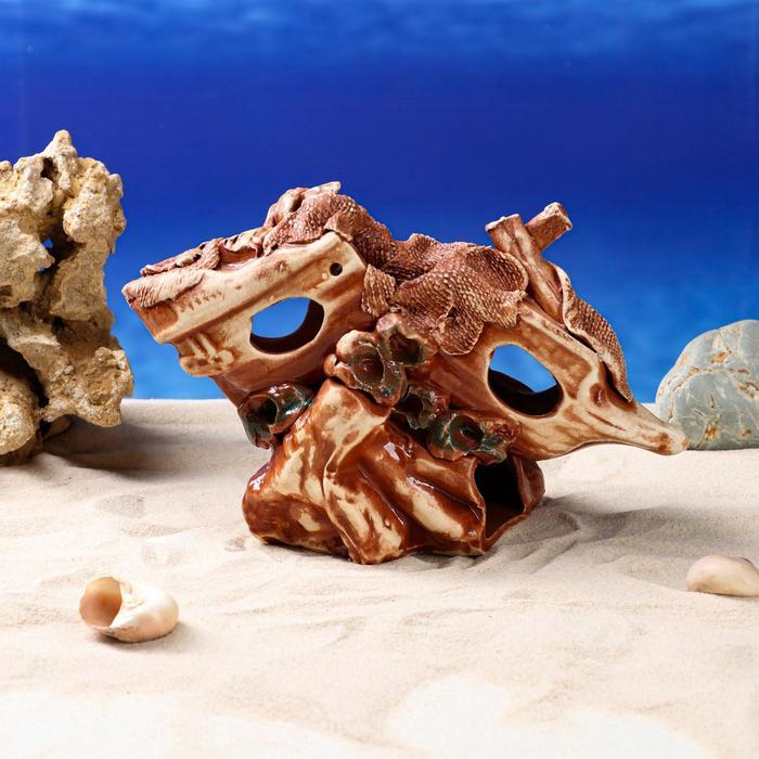 """Декорации для аквариума """"Сломавшийся корабль на скале"""""""