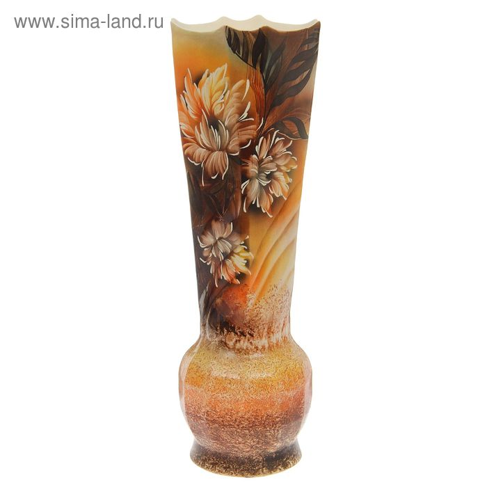 "Ваза напольная ""Корона"" цветы, коричневая"