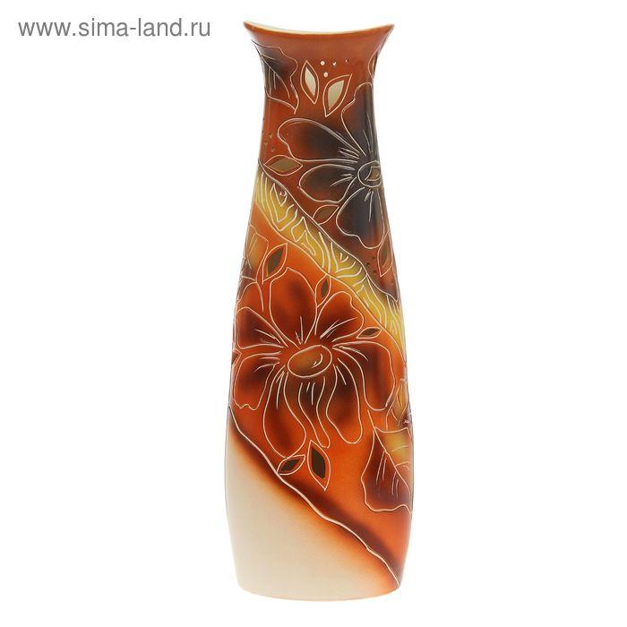 """Ваза напольная """"Диана"""" цветок, коричневая"""