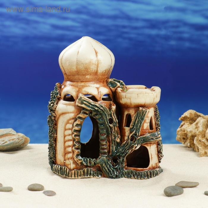 """Декорации для аквариума """"Замок двойной"""" средний"""