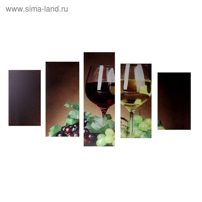 """Модульная картина на подрамнике """"Вино и виноград"""", 2 — 43×25, 2 — 58×25, 1 — 72×25 см, 75×135 см"""