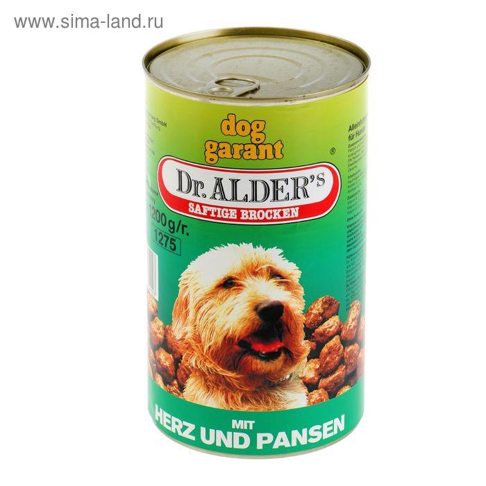 "Консервы для собак Dr. Alders  ""Дог Гарант"" рубец/сердце, 1200 гр"