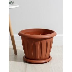"""Горшок для растений """"Фелиция"""" 10,4 л d=32 см с поддоном, цвет терракотовый"""