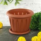"""Горшок для растений """"Фелиция"""" 0,4 л d=10,5 см с поддоном, цвет терракотовый"""