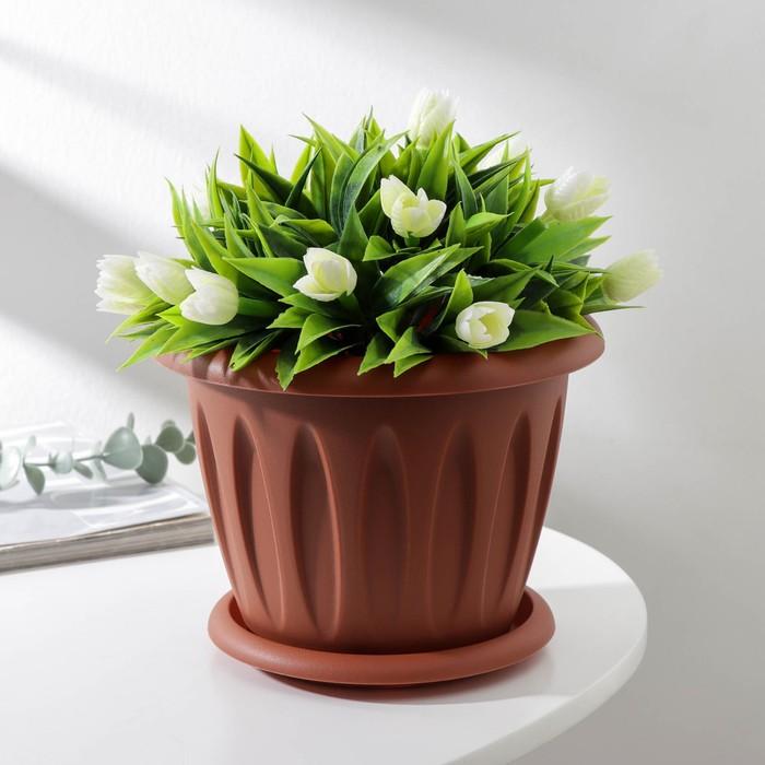 """Горшок для растений """"Фелиция"""" 1,8 л d=18 см с поддоном, цвет терракотовый"""