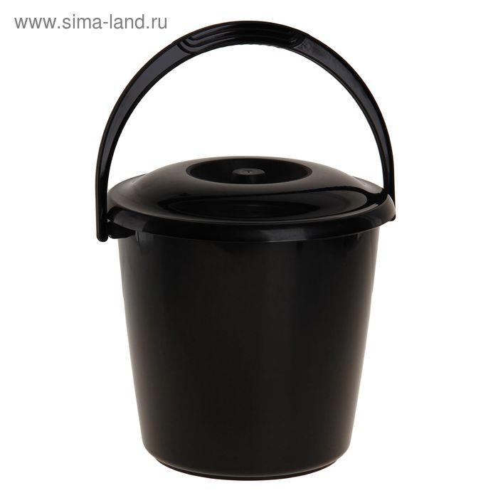 """Ведро """"Соло"""" хозяйственное 10 л с крышкой, цвет черный"""