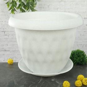 """Горшок для растений """"Розетта"""" 13 л d=34 см c поддоном, цвет мрамор"""