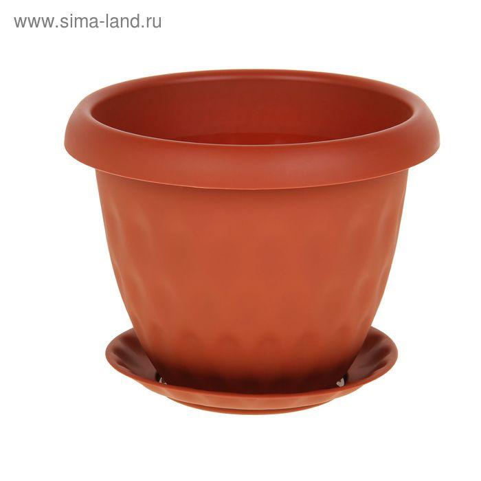 """Горшок для растений """"Розетта"""" 4,9 л d=24,5 см c поддоном, цвет терракотовый"""