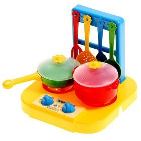 """Детская посудка """"Ромашка"""", набор с плиткой + 6 предметов, МИКС"""
