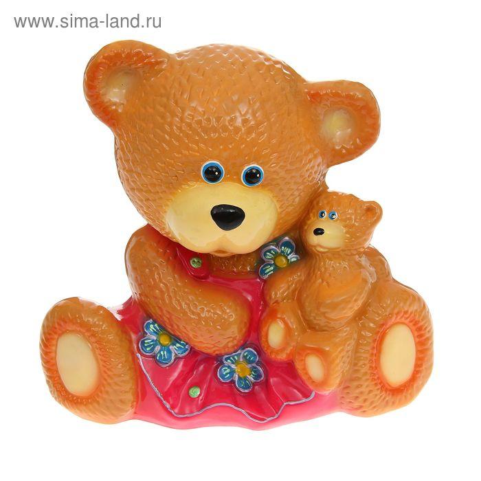"""Копилка """"Медведица с малышом"""" бежевая"""