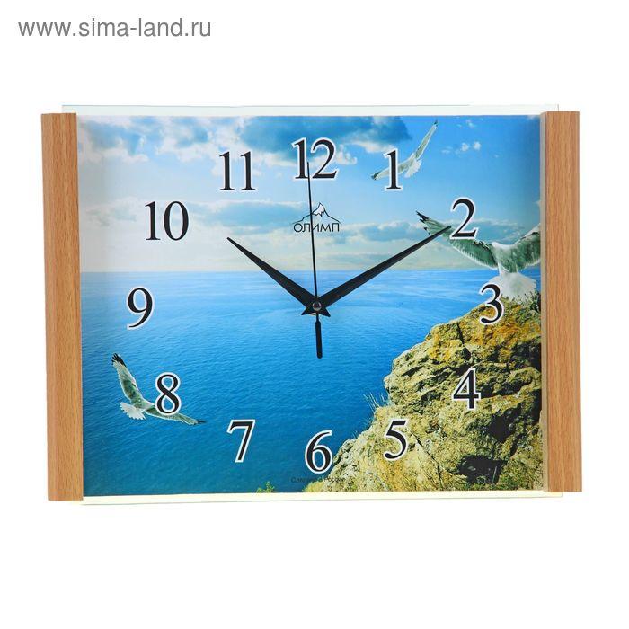 "Часы настенные прямоугольные ""Море, скалы, птицы"", 25х35 см"