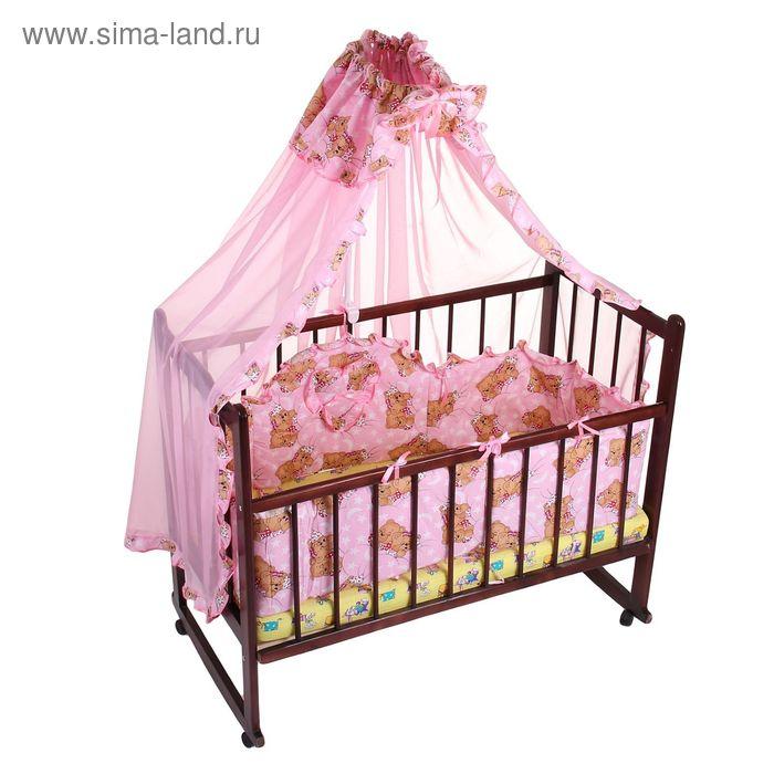 """Комплект в кроватку """"Медвежата"""" (2 предмета), цвет розовый (арт. 1512)"""