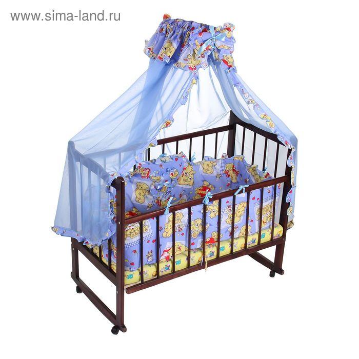 """Комплект в кроватку """"Медвежата"""" (2 предмета), цвет голубой (арт. 1512)"""