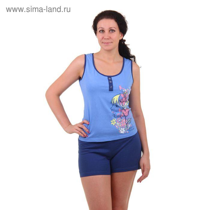 Комплект женский (майка, шорты), рост 158-164 см, размер 46, цвет голубой (арт. PK2384/01)