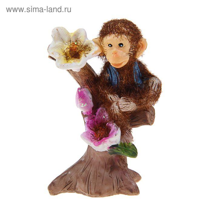 "Сувенир ""Обезьянка на дереве"" бархатистый, МИКС"
