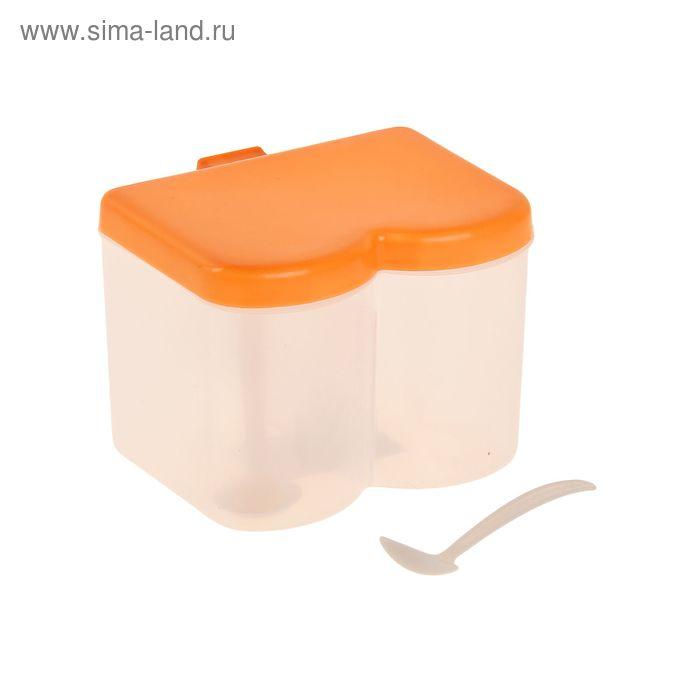 Банка для сыпучих продуктов 2 отделения с ложками, цвет МИКС