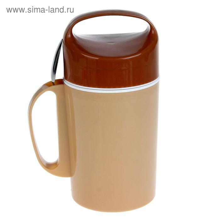 "Термос суповой ""Яркие краски"" (внутри металл) 1,3 л, 1 тарелка, ложка"