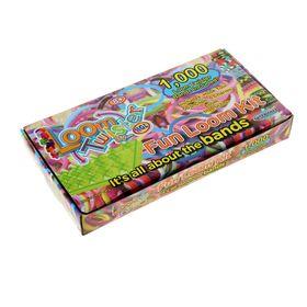 Резиночки для плетения LOOM TWISTER разноцветные, набор 1000 шт., станок, крючок, крепления, 6 подвесок