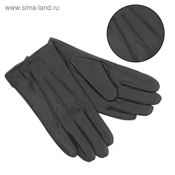"""Перчатки мужские """"Уолтер"""" подклад - флис, р-р 10, чёрные"""