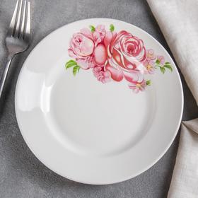 """Тарелка мелкая d=17,5 см """"Розовые розы"""", высота 2,6 см"""