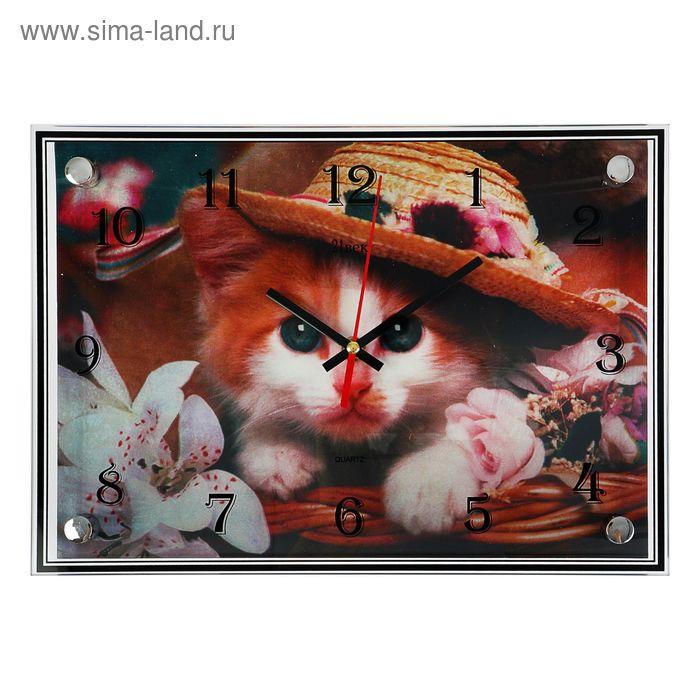 """Часы настенные прямоугольные """"Котенок"""", 3D, 25х35 см"""