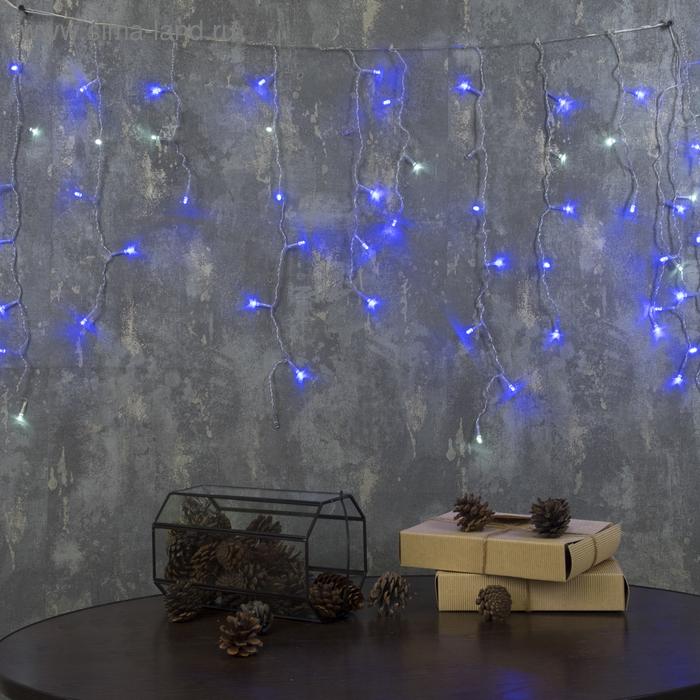 """Гирлянда """"Бахрома"""" Ш:1,2 м, В:0,6 м, Н.С. LED-60/15-220V, эффект мерцания, СИНЕ-БЕЛЫЙ"""