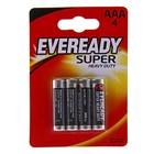 Батарейка Солевая  Eveready Super Heavy Duty, ААА, R03-4BL, блистер, 4 шт.
