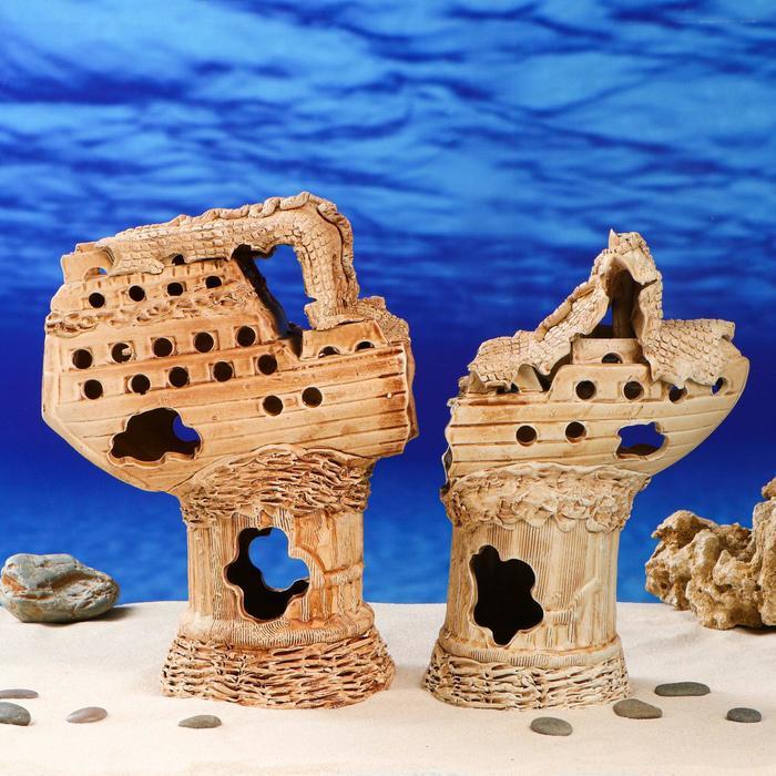 """Декорации для аквариума """"Корабль ломаный"""" большой, из двух частей"""