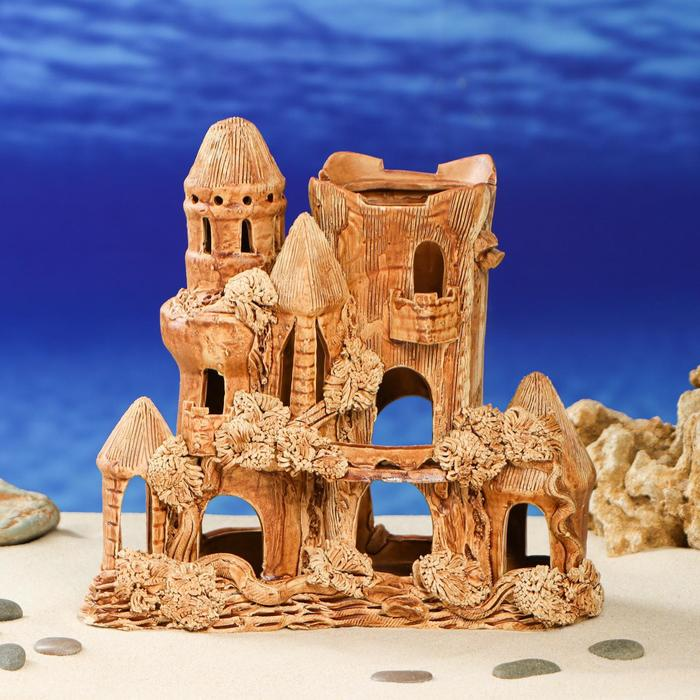 """Декорации для аквариума """"Замок квадратный"""" средняя"""