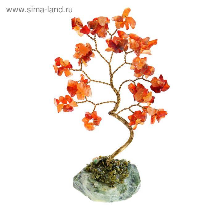 Дерево счастья из камня Сердолик 21 лист