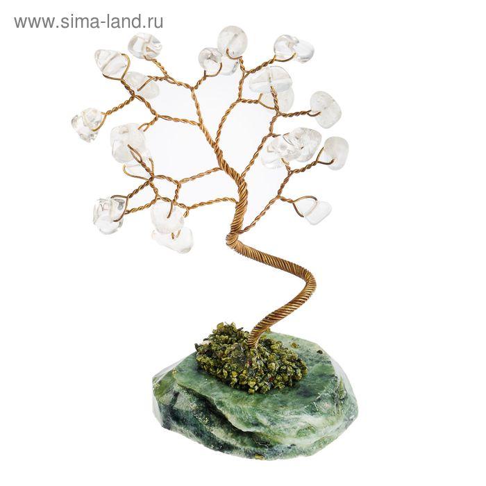 """Дерево счастья """"Горный хрусталь"""", натуральный камень, 21 лист"""