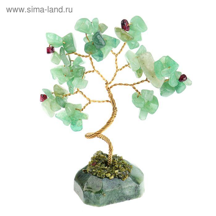 Дерево счастья из камня Зеленый авантюрин с гранатом 12 лист