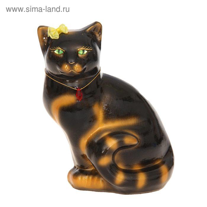 """Копилка """"Кошка Мурка"""" глянец, чёрная, задувка золото"""
