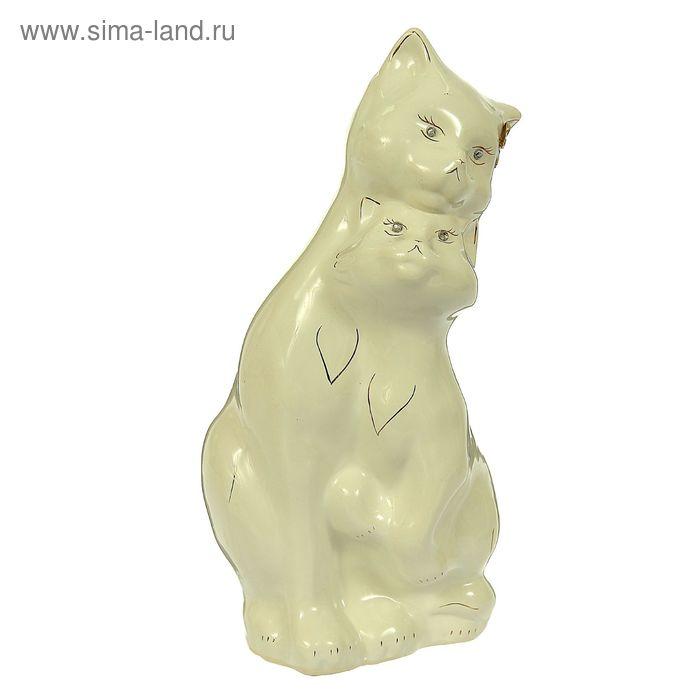 """Копилка """"Влюбленные кот и кошка"""" большая, глазурь, белая, микс"""