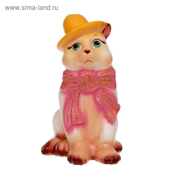 """Копилка """"Кот в шарфе"""" глянец, бежевая"""