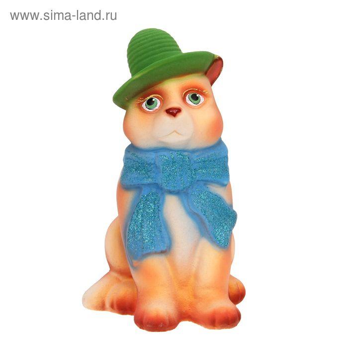 """Копилка """"Кот в шарфе"""" флок, бежевая"""