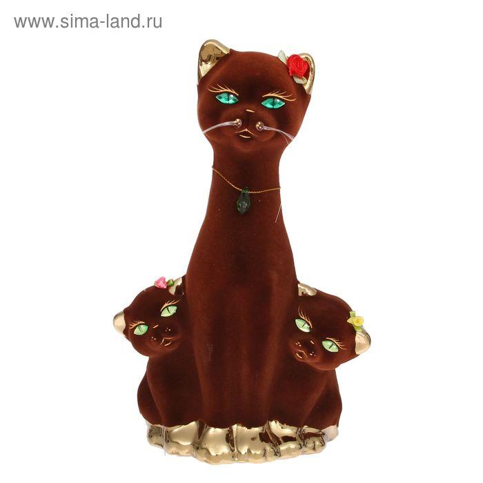 "Копилка ""Кошка с котятами"" флок, булат, коричневая"