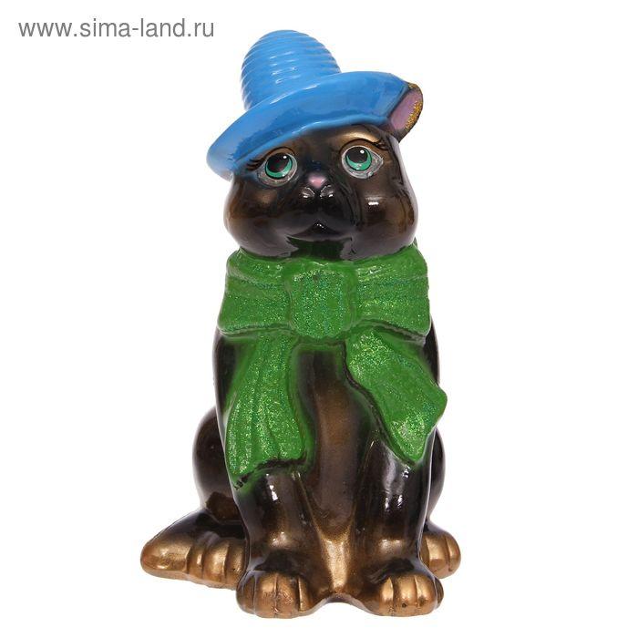 """Копилка """"Кот в шарфе"""" глянец, чёрная"""