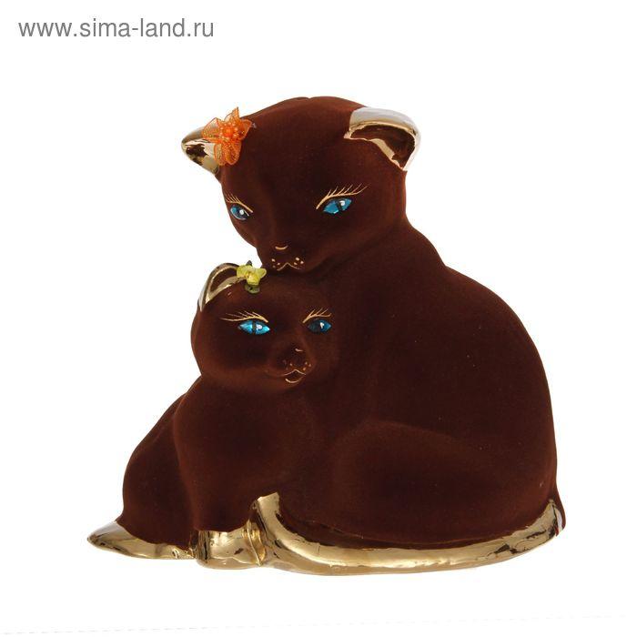 """Копилка """"Кошка с котёнком"""" флок, булат, коричневая"""