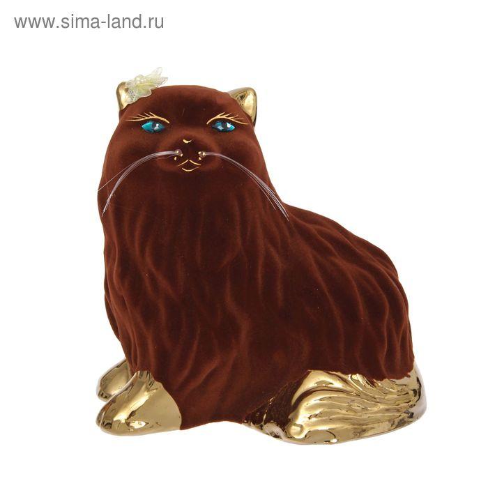 """Копилка """"Кошка Пушистик"""" средняя, флок, булат, коричневая"""