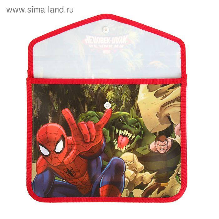 Папка для тетрадей А5 Marvel «Человек Паук» клапан на кнопке, пластиковая