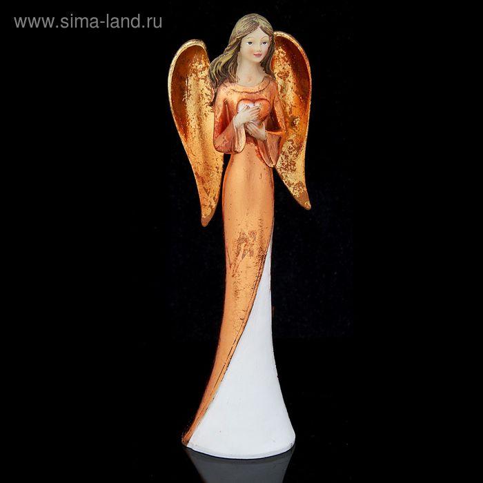 """Сувенир """"Золотистый ангел с сердцем"""""""