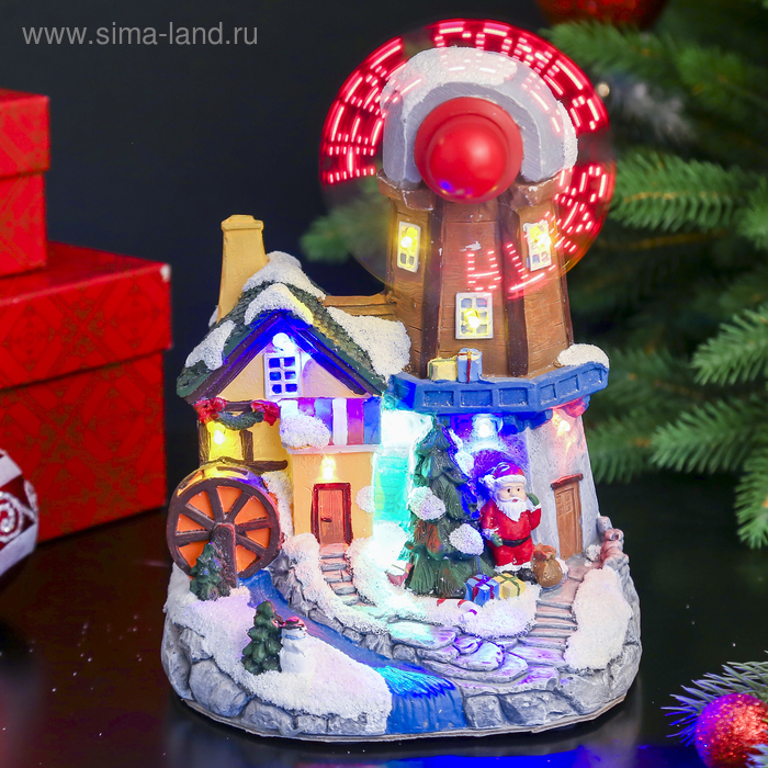 """Сувенир """"Домик. С Рождеством"""" световой, движущийся"""