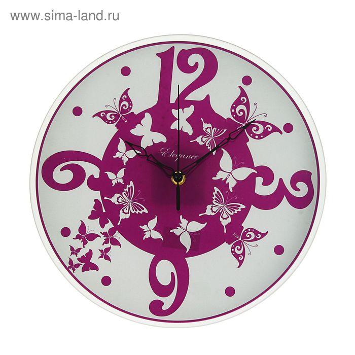 """Часы настенные круглые """"Фиолетовые бабочки"""", стекло, 30х30 см"""