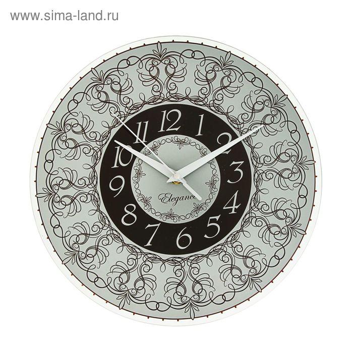 """Часы настенные круглые """"Узоры"""", черно-серые, 30х30 см"""