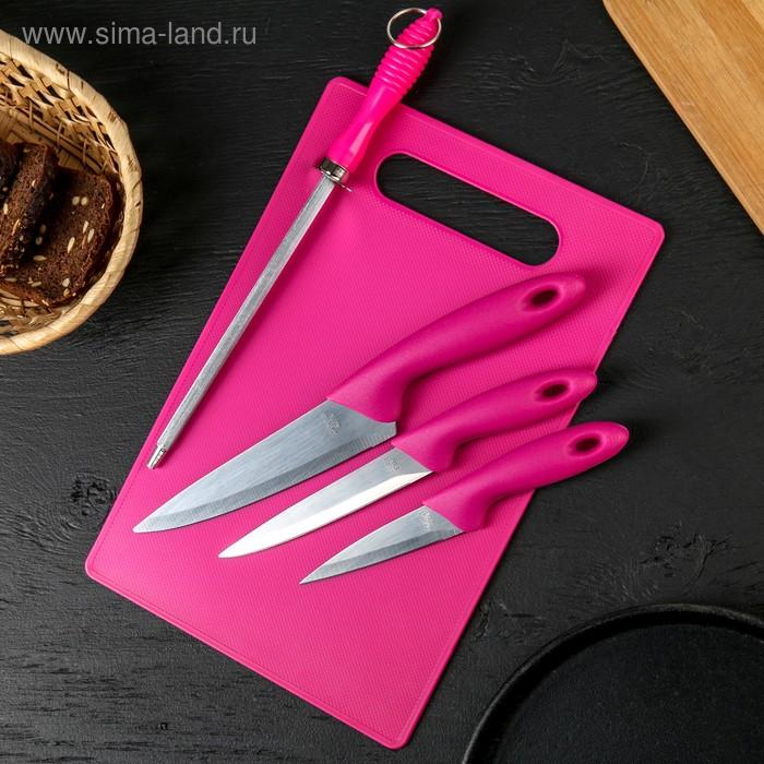Набор 5 предметов: 3 ножа 9/12/15 см, мусат, доска 30*20 см, цвета МИКС
