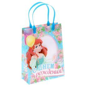 """Пакет подарочный пластик """"С Днем рождения"""", Принцессы: Русалочка, 18 х 23 см"""
