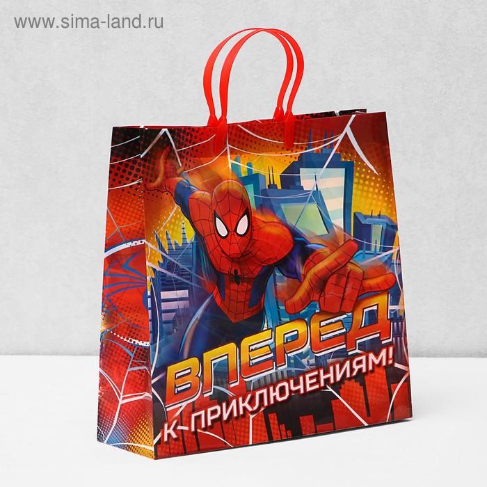 """Пакет подарочный пластик """"Вперед к приключениям"""", Человек-Паук, 30 х 30 см"""